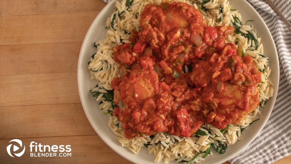 Veggie-Centric Chicken Cacciatore with Spinach Orzo