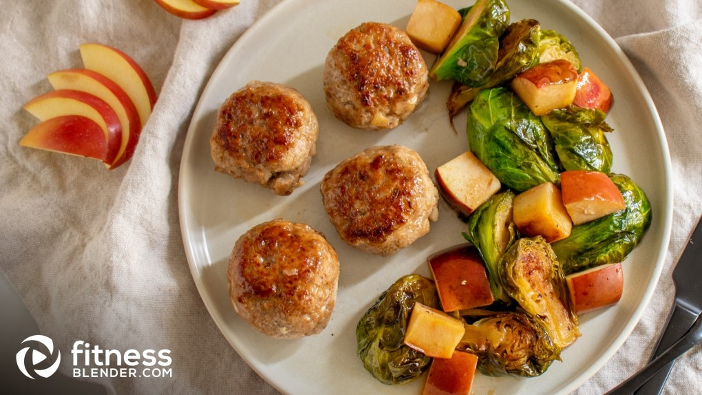 Honey-Glazed Turkey Meatballs with Brussel Sprouts and Apples