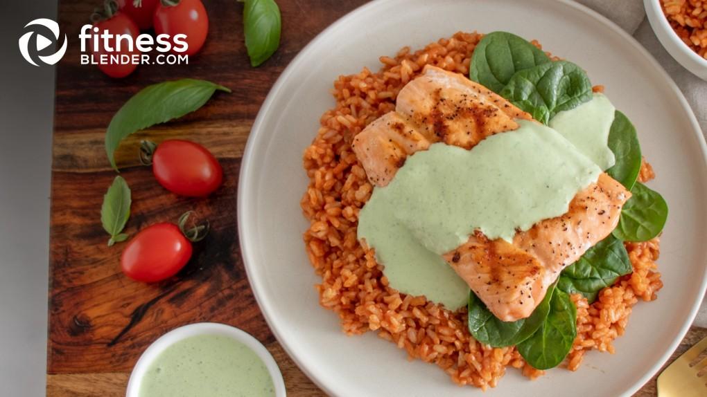 Grilled Salmon with Basil Yogurt Sauce and Tomato Rice
