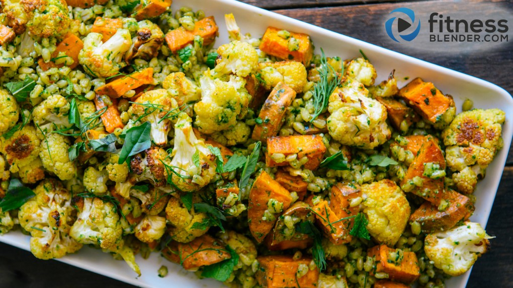 Roasted Sweet Potato, Cauliflower, and Barley Salad