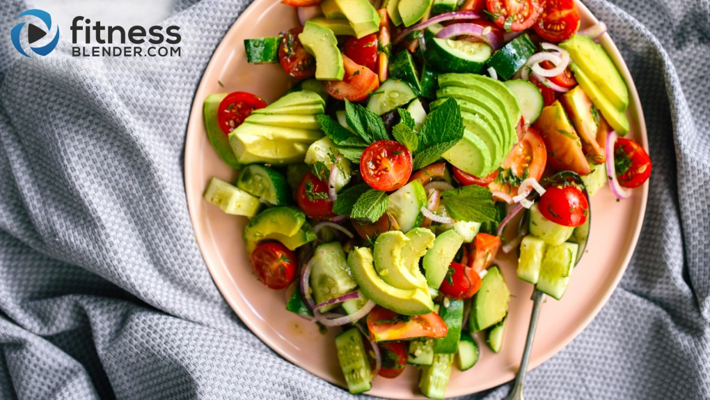 Tomato, cucumber and avocado salad + Easy dressing recipe