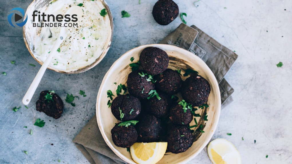 Black Bean Vegetarian Meatballs with Tzatziki Sauce