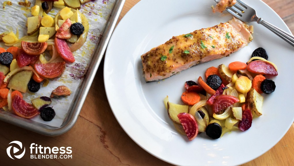 Honey-Mustard Salmon with Roasted Root Vegetables