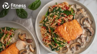 Saucy Mushroom Salmon with Spinach and Tomato Orzo