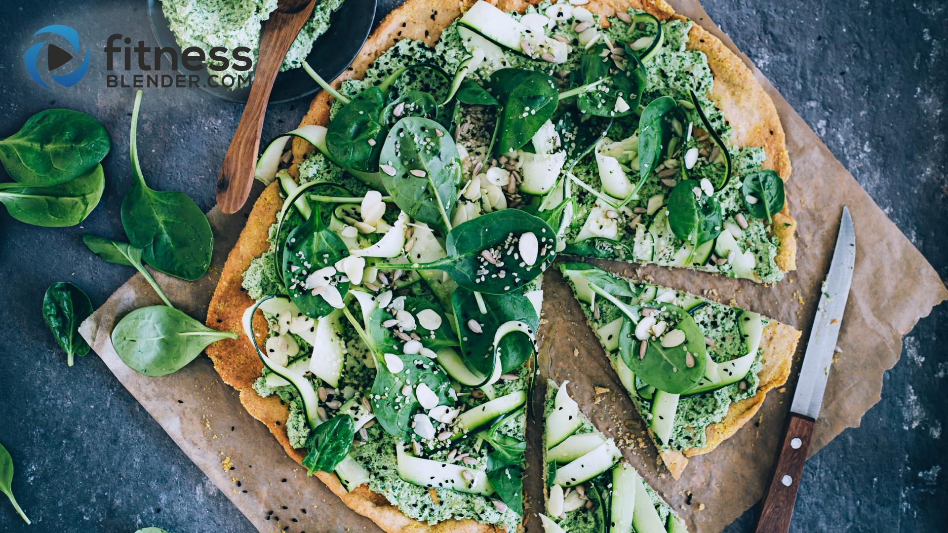 Green Power Pizza with Chickpea Crust (Vegan, Gluten-Free)