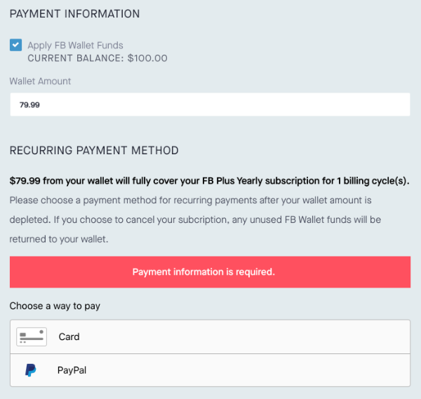 Screenshot of FB Wallet form for new subscriptions