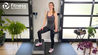 Lower Body Strength Workout with Resistance Bands, a Step, and Dumbbells