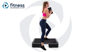Lower Body Strength & HIIT Workout with Dumbbells, Step, and Resistance Band