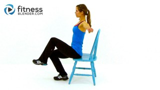 workout at work: 32 minute chair workout video | fitness blender